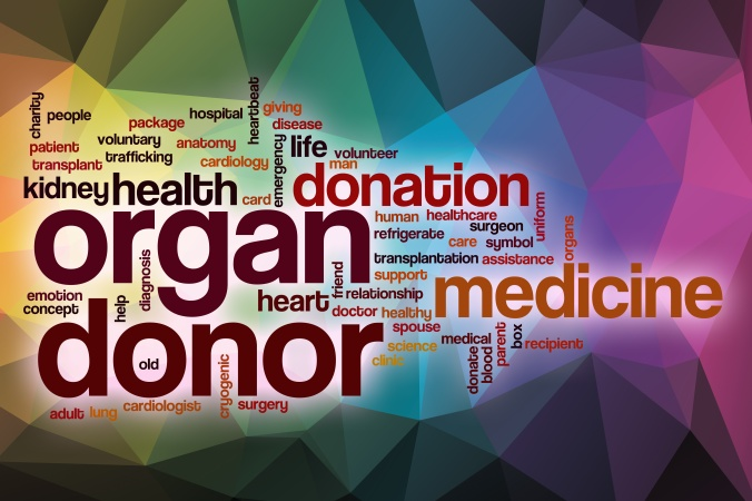 Organ donor word cloud with abstract background